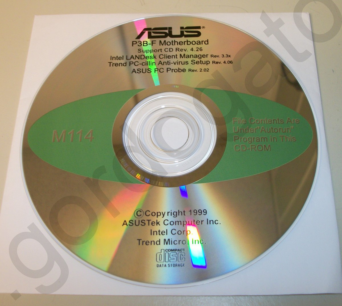Original box, manual & driver cd disc for asus p3b-f 440bx.