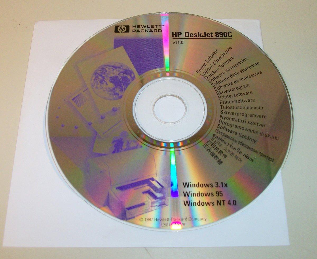Iso image of original driver cd disc for hp deskjet 890c printer.